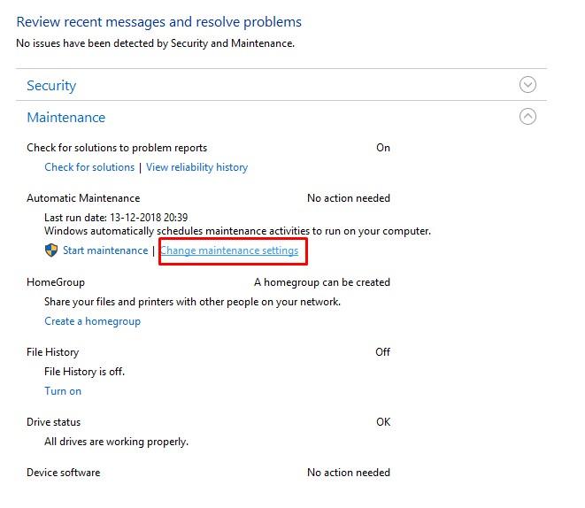 Cómo usar la función de mantenimiento automático en Windows 10