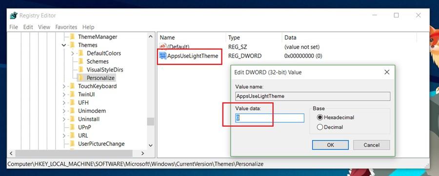 Cómo habilitar el tema de la oscuridad oculta de Windows 10