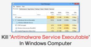 Cómo matar el Servicio Antimalware ejecutable en Windows 10