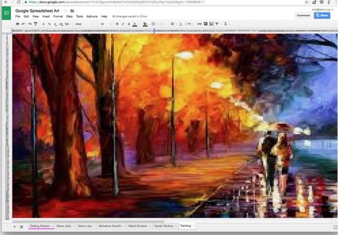 Cómo hacer pinturas pixeladas con las hojas de cálculo de Google
