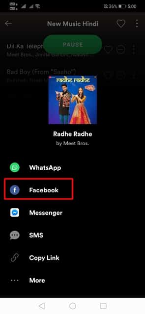 Cómo compartir música de Spotify en las historias de Facebook