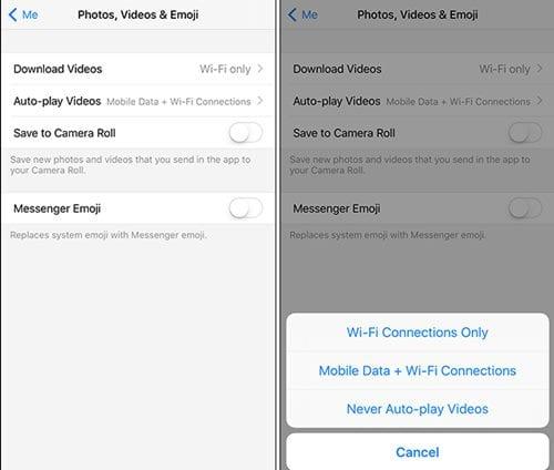 Cómo detener la reproducción automática de los vídeos de Facebook Messenger
