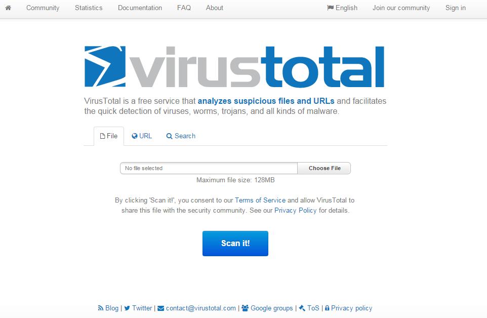 Cómo escanear los archivos y la URL sin ningún antivirus instalado