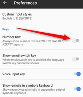 Cómo añadir una fila de números persistentes al teclado del Android
