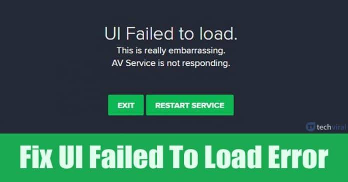 Cómo solucionar el error de carga de la interfaz de usuario en Avast Antivirus