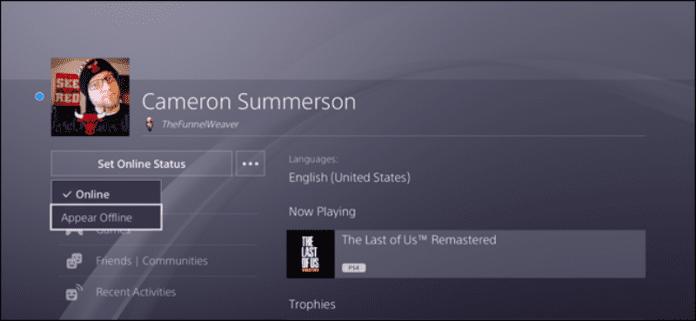 Cómo configurar el estado de conexión en la PlayStation 4