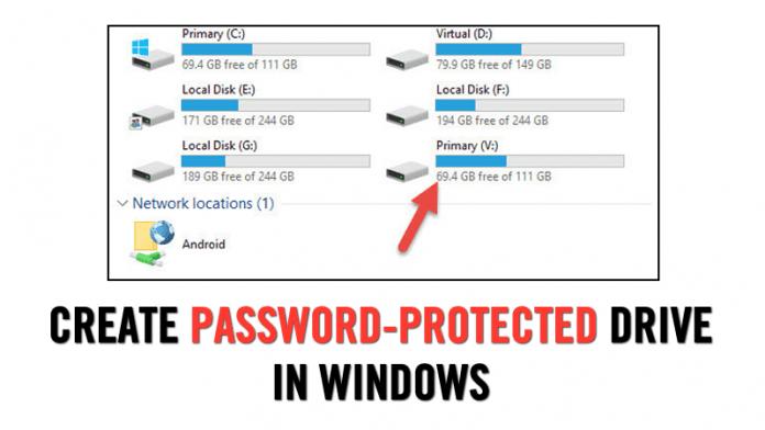 Cómo crear una unidad protegida por contraseña en Windows