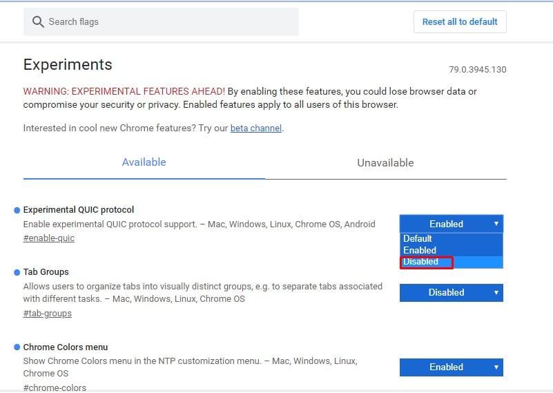 Cómo restablecer las banderas de cromo al estado predeterminado en Android y PC