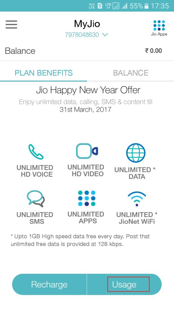 A continuación te explicamos cómo encontrar el equilibrio de datos de 4G y los paquetes de actualización en mi aplicación de Jio