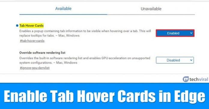 Cómo habilitar las tarjetas de tabulación en Microsoft Edge