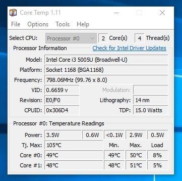 Cómo comprobar la temperatura de la CPU en Windows 10
