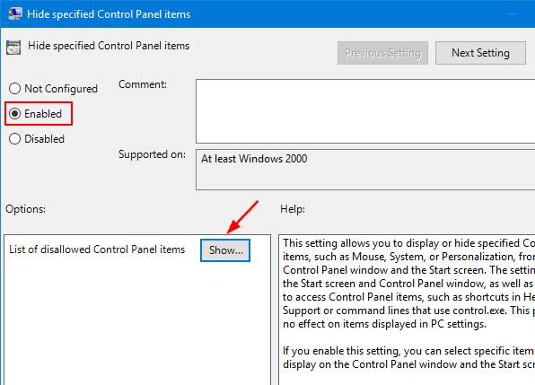 Cómo ocultar elementos del Panel de Control en Windows