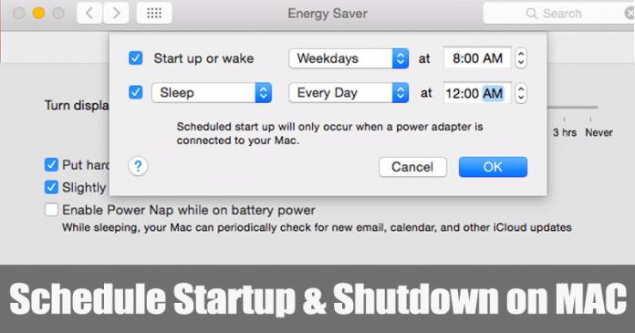 Cómo programar el inicio y el cierre en el MAC