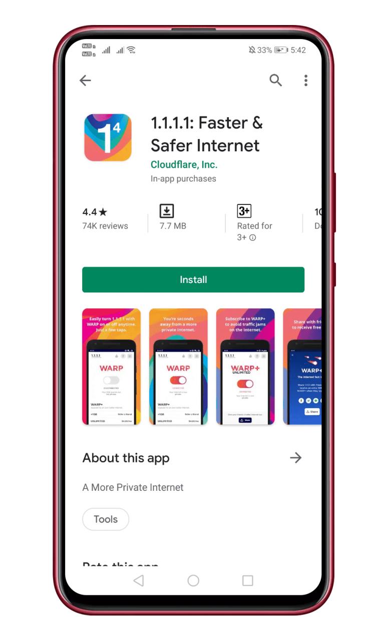 Cómo usar el nuevo servicio VPN de Cloudflare en Android