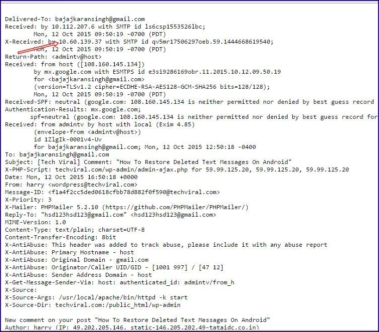 Cómo rastrear la IP y la ubicación del remitente en Gmail