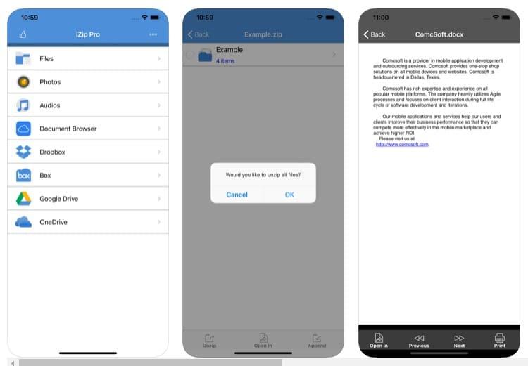 Cómo descomprimir archivos comprimidos en el iPhone/iPad